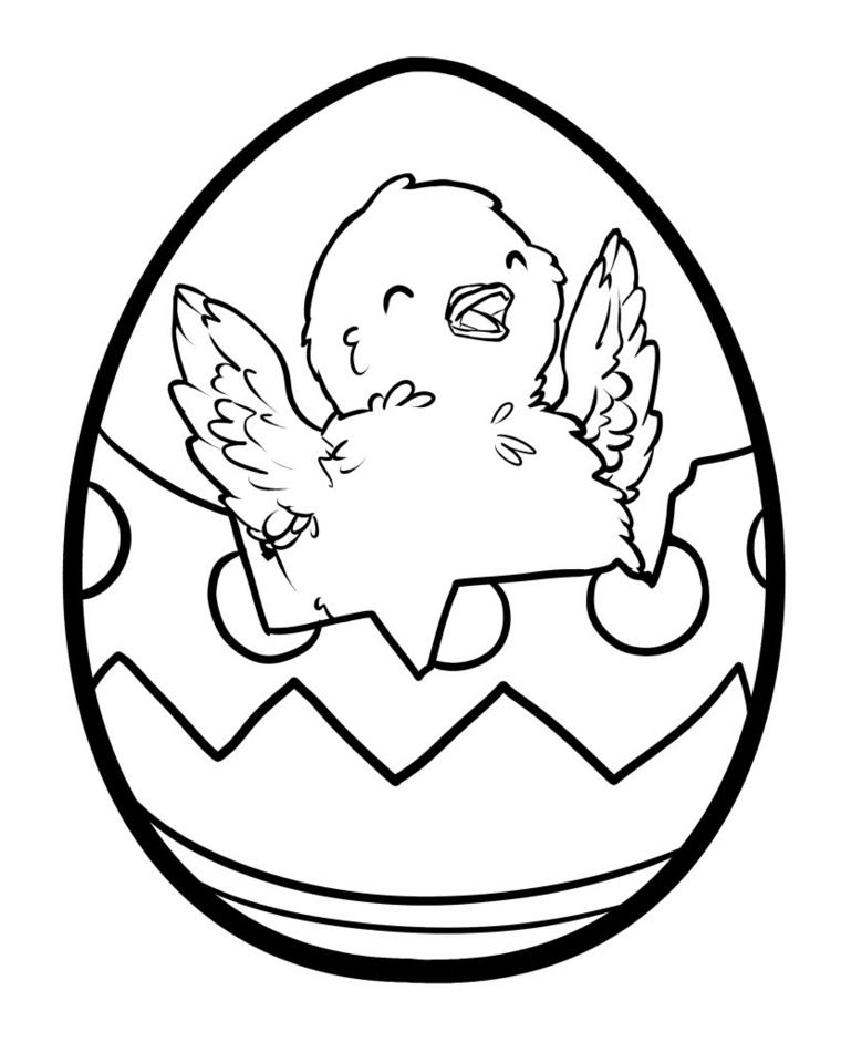 Disegno di un uovo di pasqua da stampare e colorare, pulcino sorridente