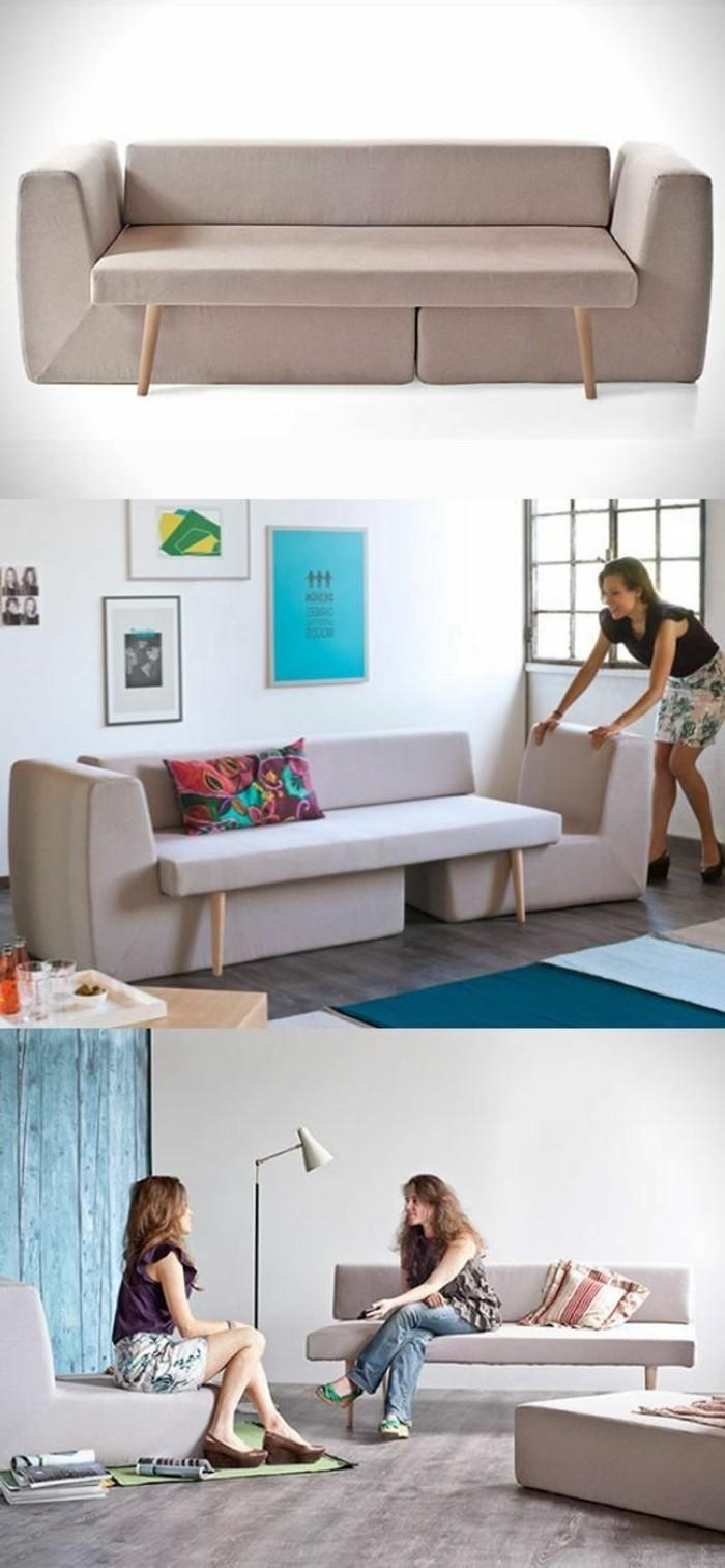 Divano di colore grigio scomponibile e salvaspazio, idea arredamento con mobili soggiorno moderno