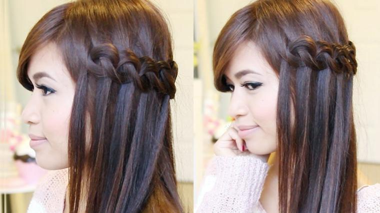 una bella idea per raccogliere i capelli con una treccia a lato, rossetto rosa chiaro