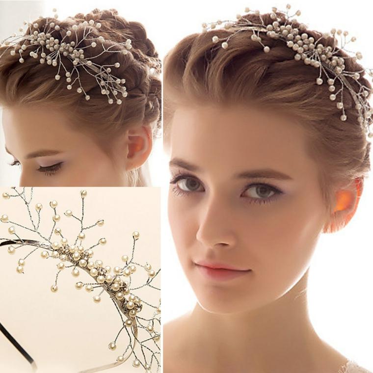 un esempio di acconciature capelli lunghi raccolti ideali per una sposa con un cerchietto ricco di palline bianche