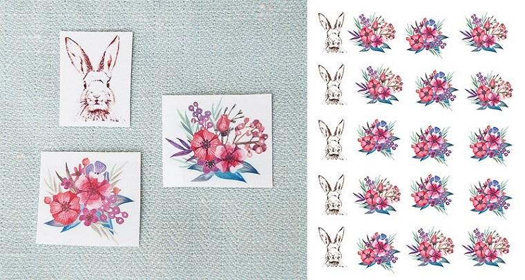 Lavoretti di pasqua, stickers con coniglietti e fiori, attaccare sulle uova cotte