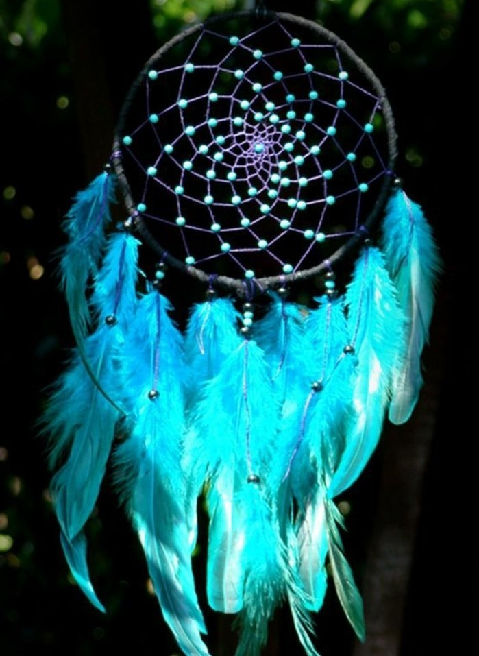bellissimo esempio di immagini di acchiappasogni con delle piume blu e delle perline nella ragnatela nera
