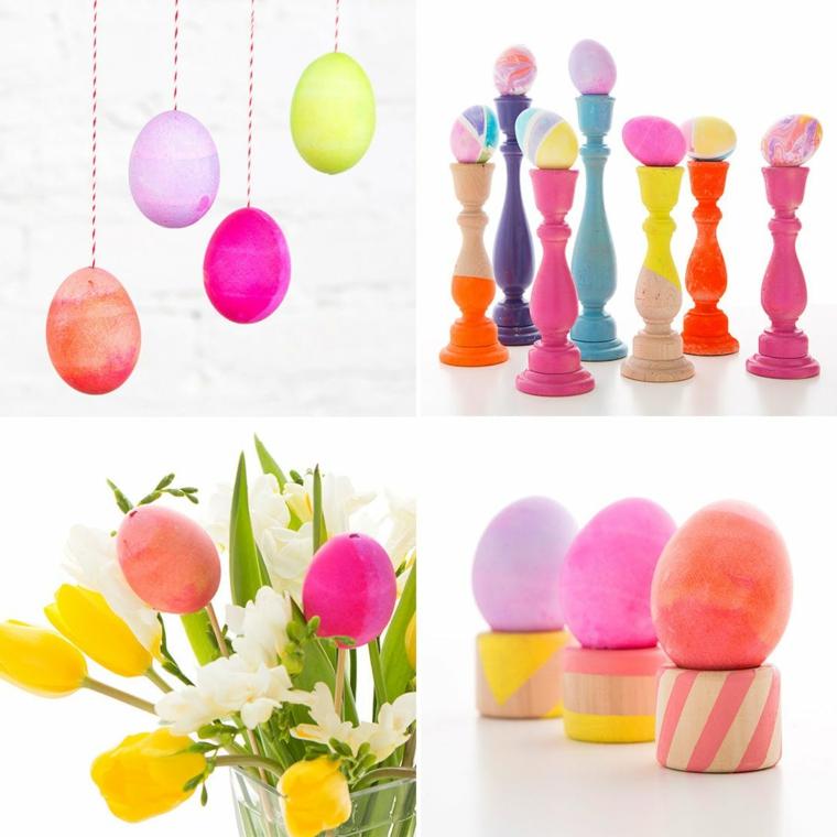 idee per delle decorazioni pasquali con le uova colorate per abbellire la casa