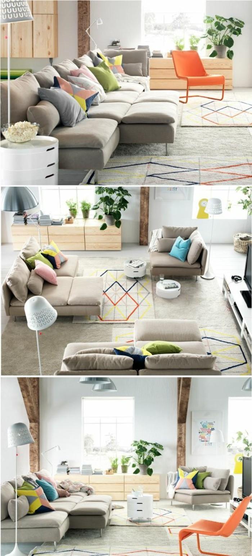 Arredamento salotto piccolo con un divano ad angolo e un tappeto grigio con decorazioni