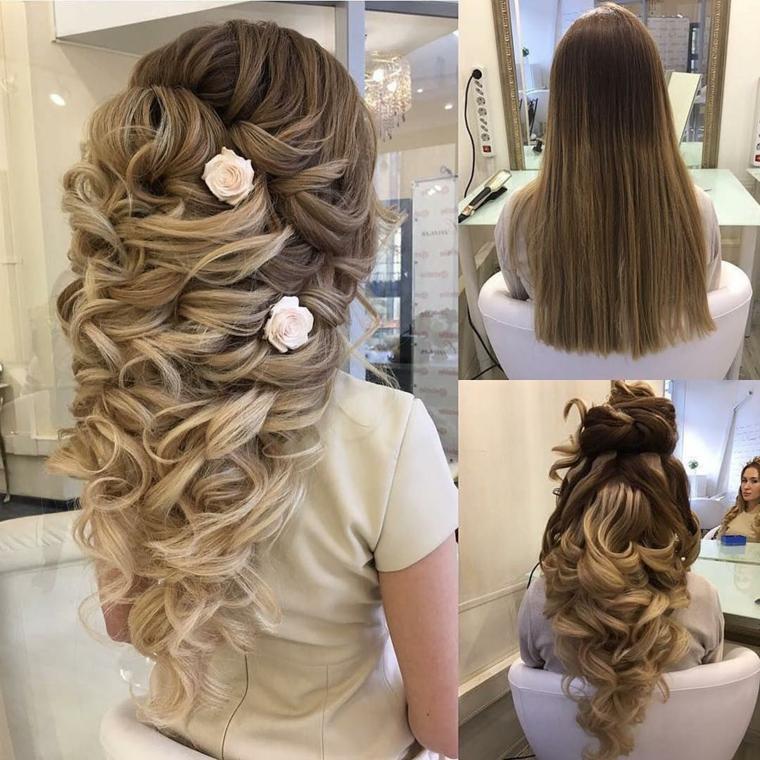 un esempio di acconciature capelli lunghi raccolti per una sposa, biondi e con due fiori a lato