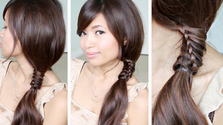 una sequenza di immagini che mostrano una ragazza con una coda particolare con una piccola treccia
