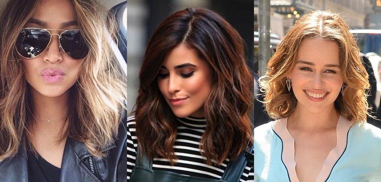 Idee per acconciature capelli con un taglio long bob mosso, tre proposte con un colore diverso