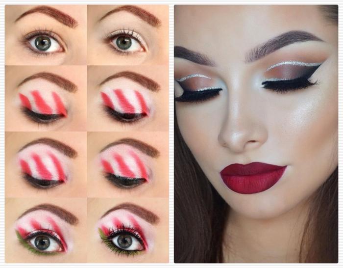 makeup per natale, imparare a truccarsi con un tutorial, ombretto natalizio, rossetto rosso scuro