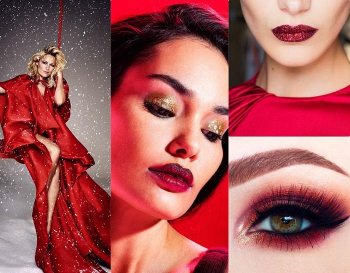 makeup per le feste, abito rosso lungo ed elegante, ombretto dorato con delle paillette