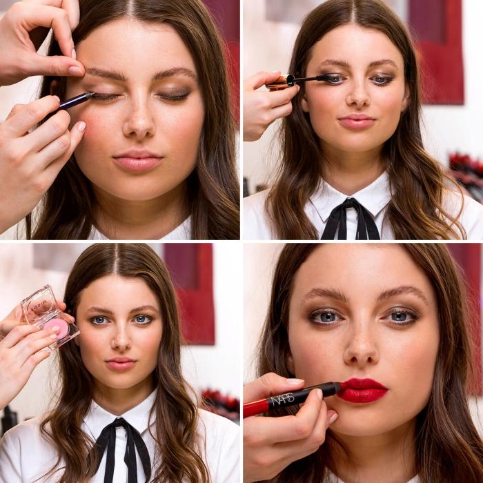 imparare a truccarsi, tutorial, applicare matita sugli occhi e la matita rossa sulle labbra