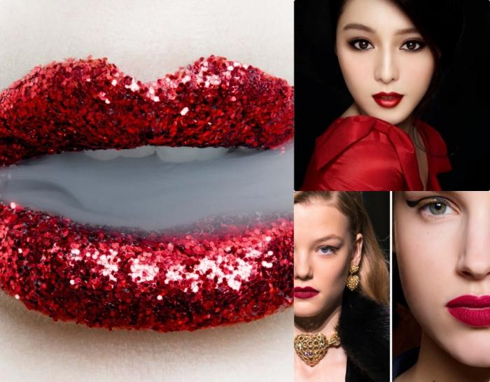 makeup con rossetto rosso, una collana e degli orecchini a forma di cuore, occhi verdi e castani