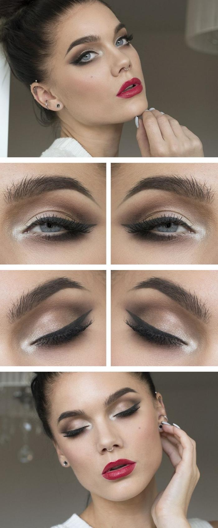 makeup per le occasioni speciali, trucco occhi azzurri con eye liner nero e ombretto nude, labbra rosse