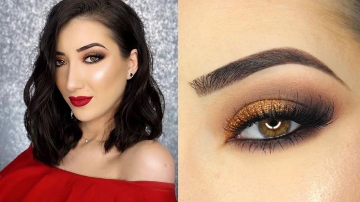 makeup per le occasioni speciali con le labbra rosse scure e un ombretto dorato, abito rosso con la spalla fuori