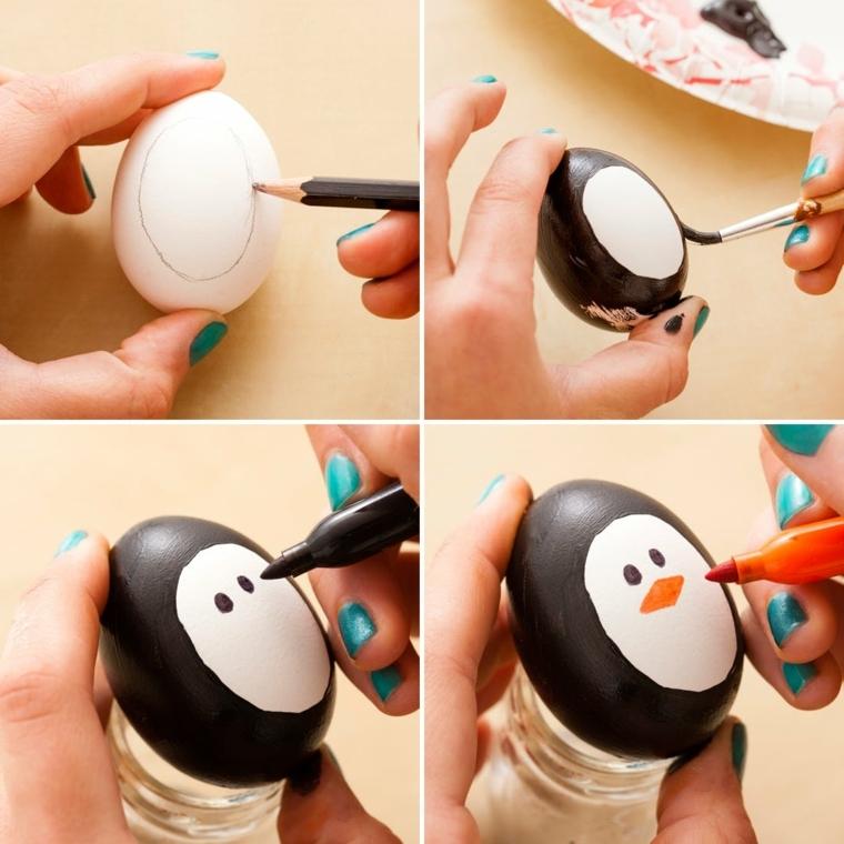 passo dopo passo come decorare le uova di pasqua disegnando un pinguino con matita e pennarelli