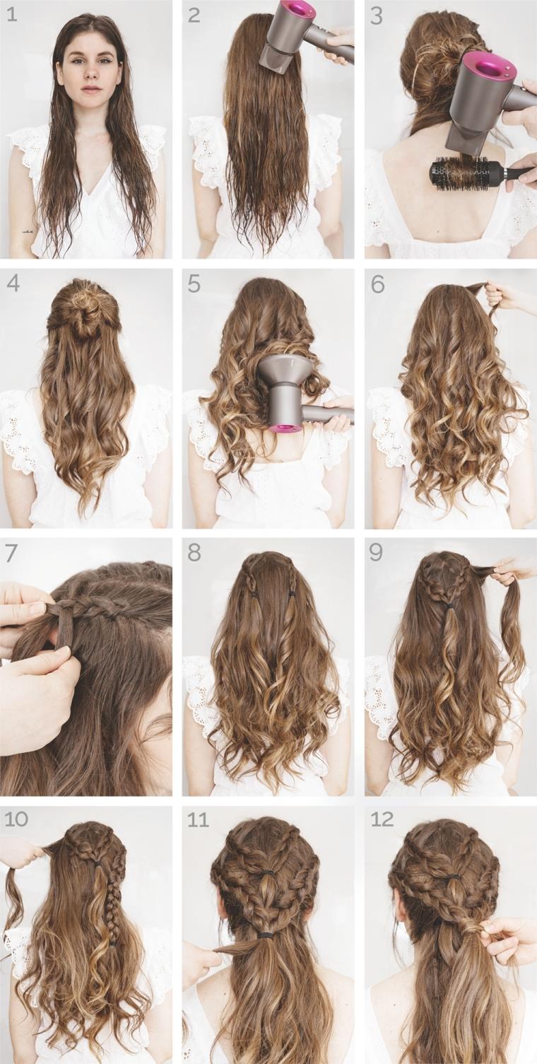 i vari passaggi necessari per capelli raccolti morbidi con delle trecce eleganti e facili da realizzare