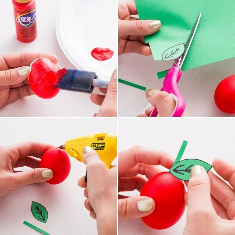 passo dopo passo come realizzare come decorare uova di pasqua come dei pomodori, rossi con una foglia di carta verde