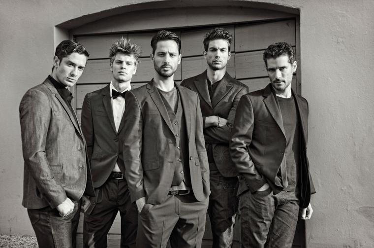 cinque diverse proposte di acconciature maschile all'ultima moda, abiti scuri eleganti