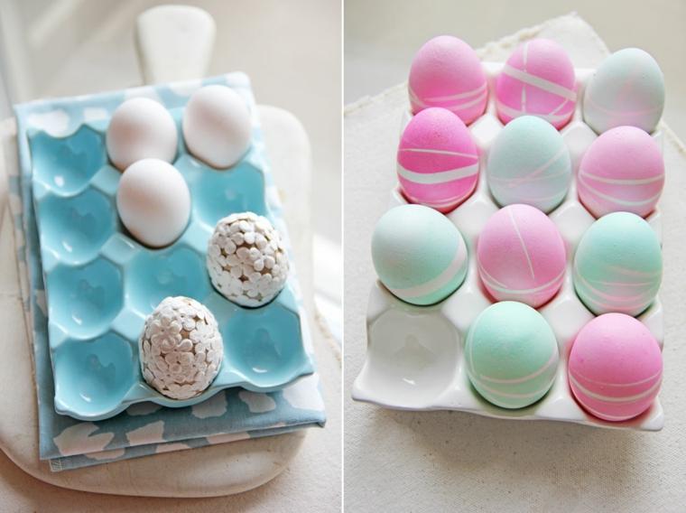 Come decorare le uova di Pasqua, colore rosa e linee irregolari