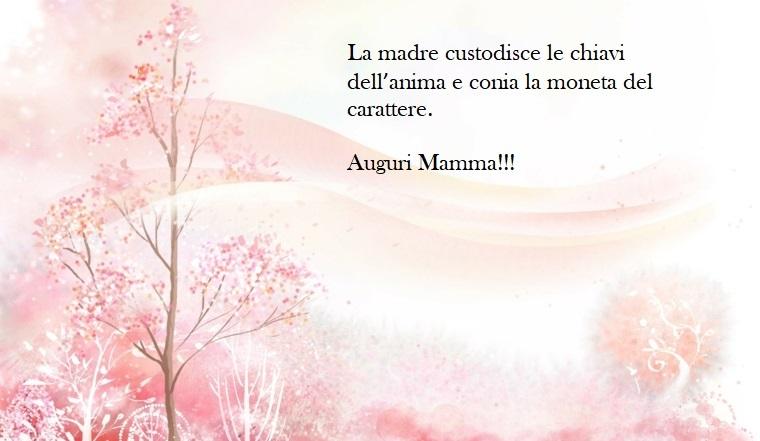 Auguri a tutte le mamme, immagine con un albero dalle foglie rosa, scritta da dedicare alla mamma