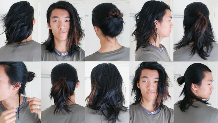 Idea per tagli maschili, capelli lunghi, varie acconciature raccolti e trecce