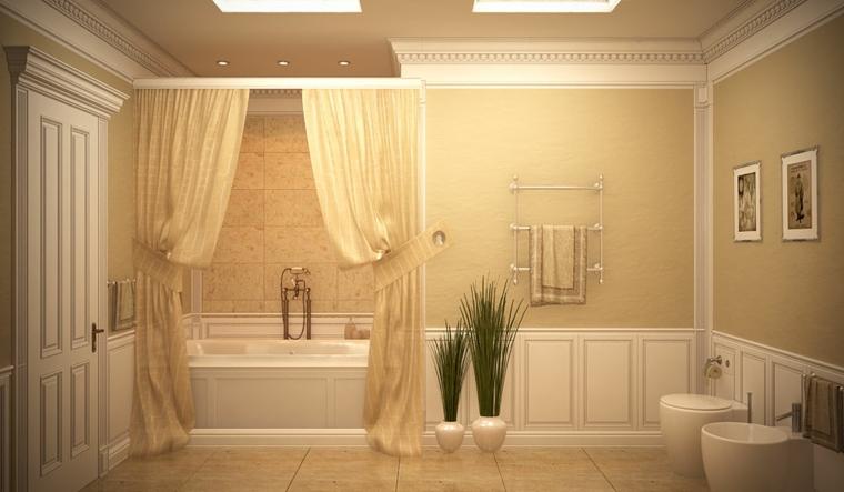 Idea come arredare un bagno piccolo, pareti rivestite di legno e pittura, vasca da bagno con tende gialle