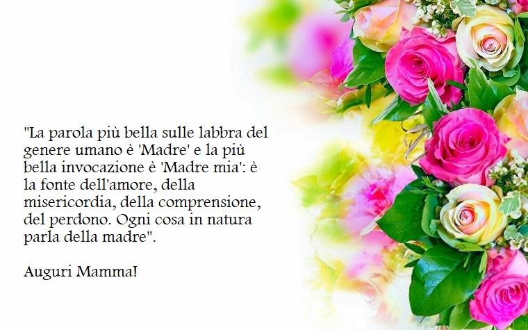 Immagine con tanti fiori come decorazione, frase per la festa della mamma