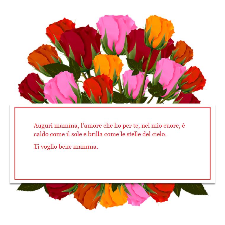 Idea scritta buona festa della mamma, cornice rettangolare con fiori fatti al computer