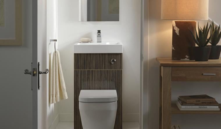 Come arredare bagno piccolo, mobili in legno, soluzione salvaspazio, vasi con piante grasse