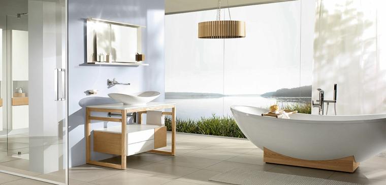 Rivestimenti bagni esempi, vasca da bagno forma dolce, lavandino forma a barca, pavimento gres porcellanato