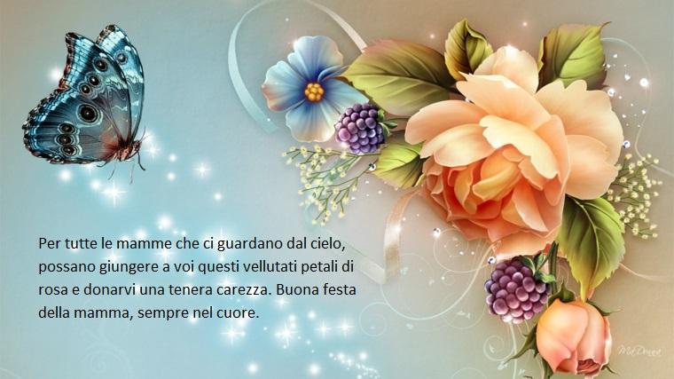Buona festa della mamma, immagine con rose e farfalle, dedica commuovente