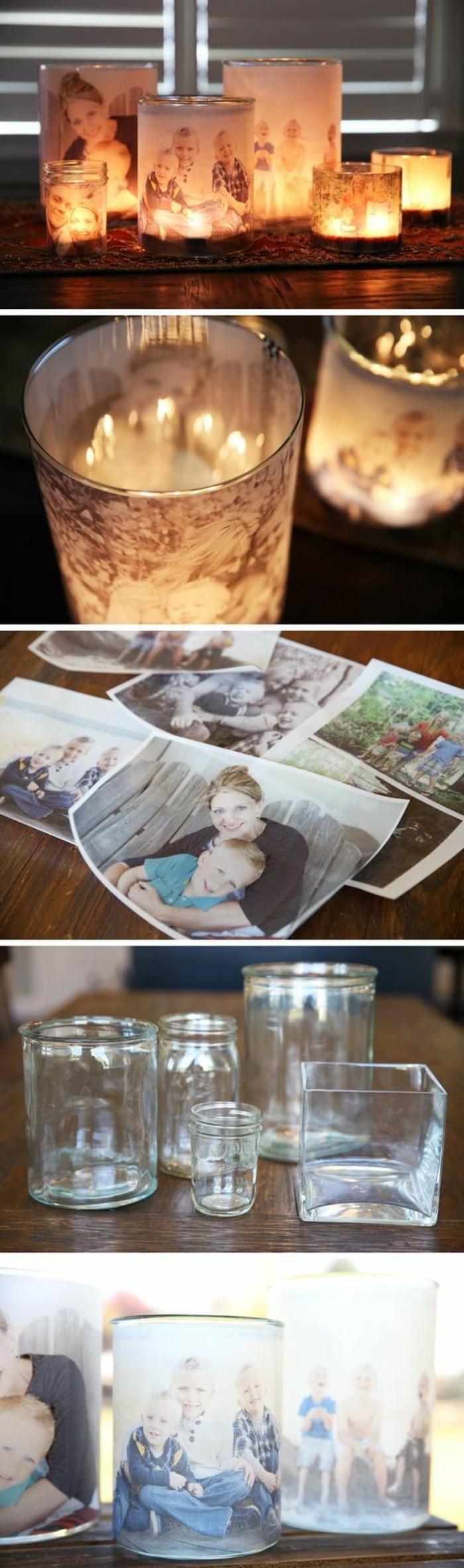 Idee regalo fai da te, bicchieri di vetro da utilizzare come portacandele, decorazione con fotografie di bambini