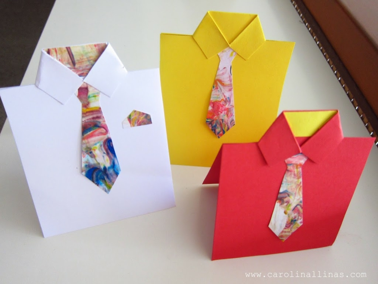 biglietti auguri festa del papà cartolina a forma di camicia con fogli colorati