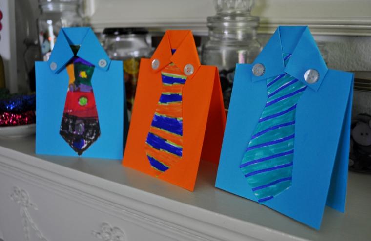 delle camicie di cartone con bottoni e cravatte: delle idee per la festa del papà