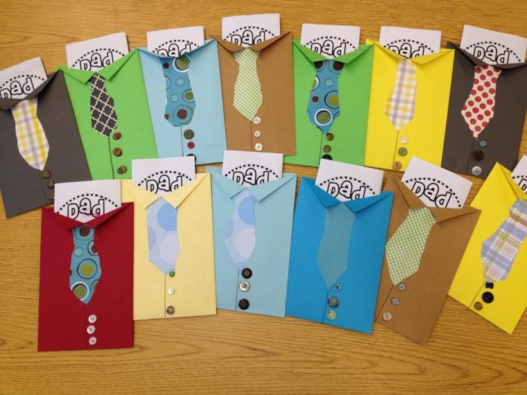 dei cartoncini colorati a forma di camicia con cravatta e bottoni: delle idee regalo festa del papà