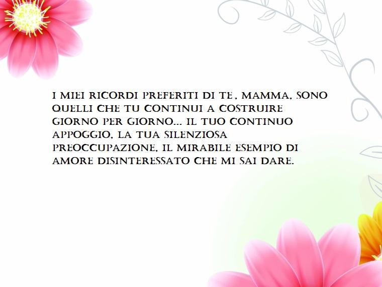 Esempio frasi sulla mamma, scritta su uno sfondo bianco, fiori di colore rosa