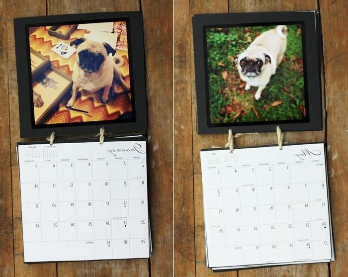 Regali fatti a mano, calendario con cornice di legno, foto da Instagram di un cagnolino