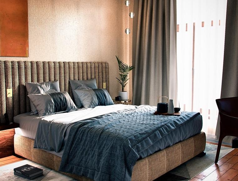 Case moderne interni, camera da letto con testiera di tessuto, decorazione con pianta e tappeti colorati