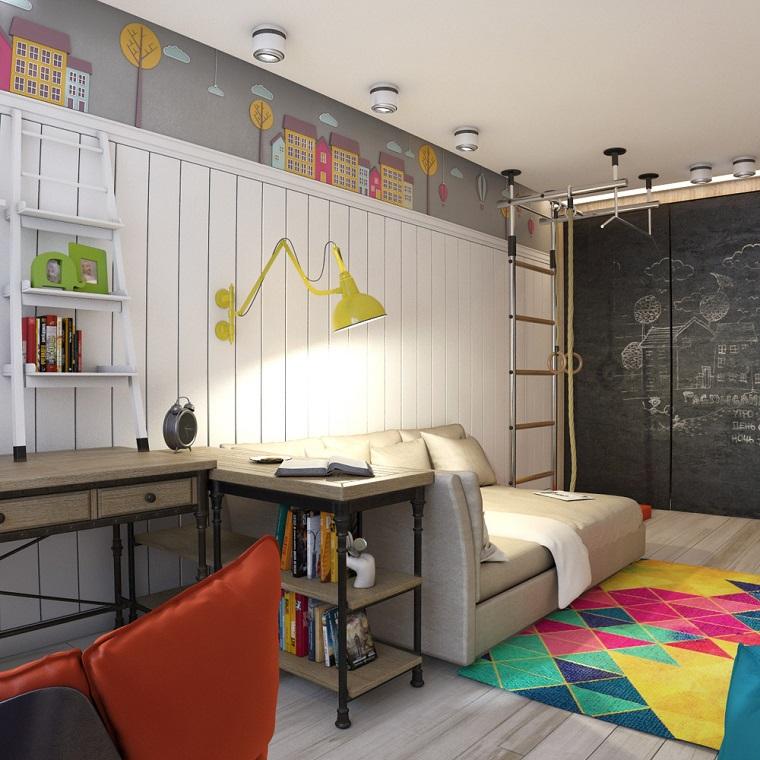 Arredare casa idee originali, cameretta con un letto in pelle e scrivania di legno