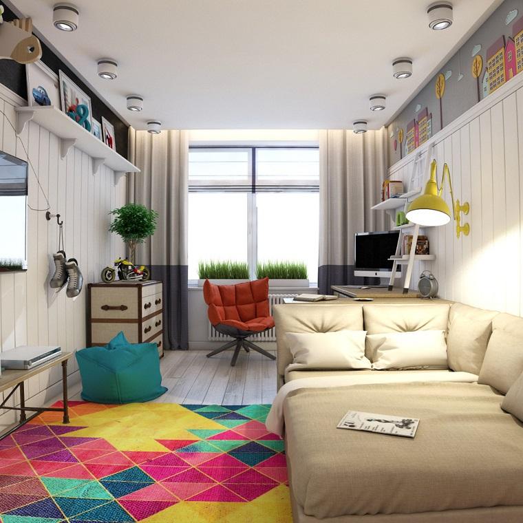 Illuminazione con faretti da soffitto, decora la tua casa, tappeto colorato con motivi geometrici