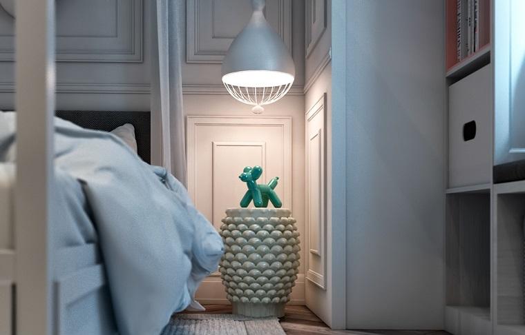 Idee arredo casa, cameretta con pareti in legno colore bianco, comodino con statuina cane verde