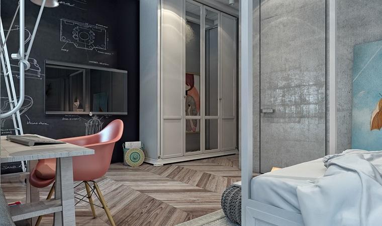 Idea arredamento cameretta con parete nera effetto lavagna, armadio in legno colore bianco con specchio