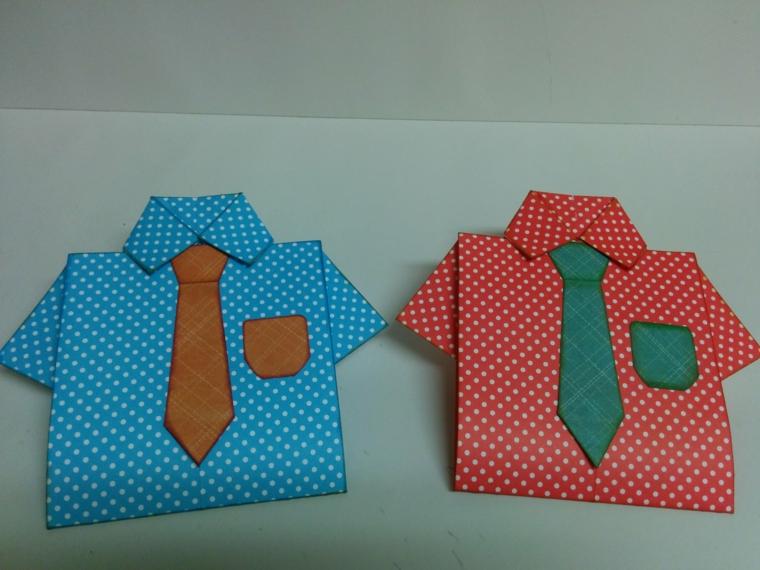 dei biglietti d'auguri originali a forma di camicia con taschino e cravatta: regali festa del papà