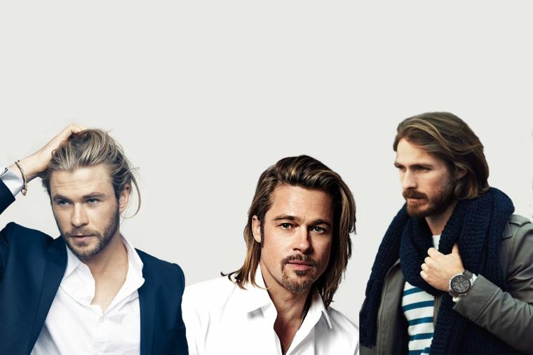 Uomini bellissimi, idea acconciature per capelli lunghi uomo, tre proposte di attori famosi