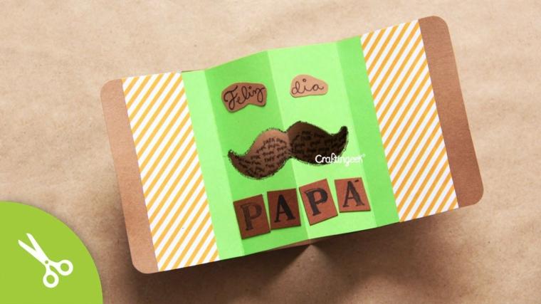 cartolina per il papà con scritta regalo fai da te con disegno di baffi