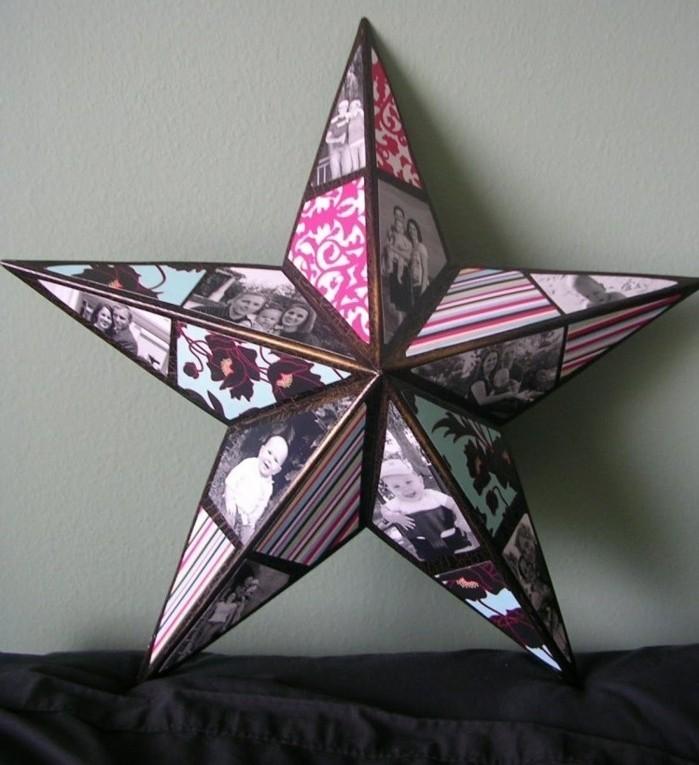 Idea oggetti fai da te semplici, fotocollage di immagini a forma di una stella tridimensionale