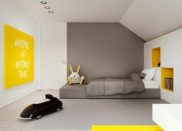 Idea per i colori pareti cameretta, abbinamento grigio scuro e bianco, accenti in giallo