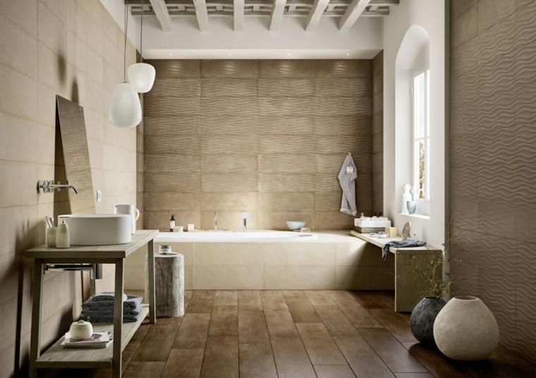 Bagni con piastrelle effetto legno elegante bagno bianco stile