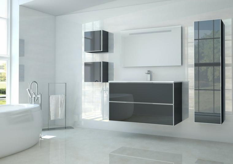 Mobile bagno sospeso grigio laccato, piastrelle bagni moderni, vasca di colore bianco, pareti di colore bianco