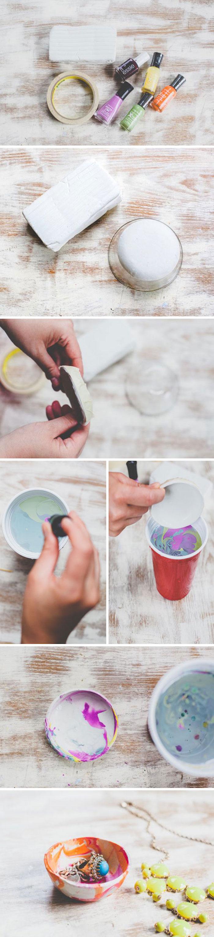 Ciotola di cartone dipinta, dipingere con smalti per unghie, pensierini di Natale fai da te