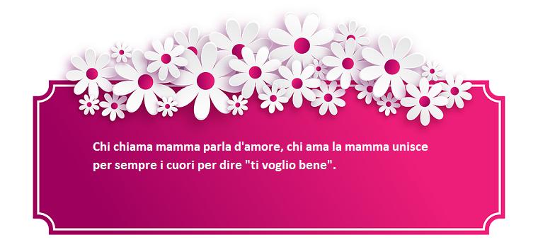 Scritta di colore bianco su sfondo fucsia, frasi mamma e figlia, decorazioni cornice con fiori